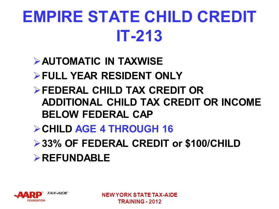 EMPIRE STATE CHILD CREDIT IT-213