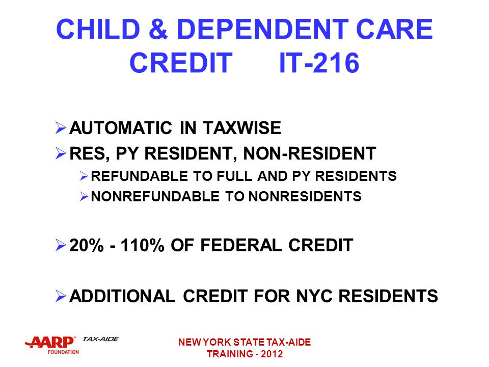 CHILD & DEPENDENT CARE CREDIT IT-216