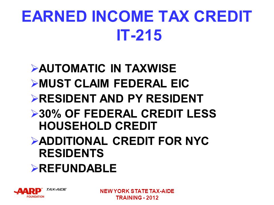 EARNED INCOME TAX CREDIT IT-215