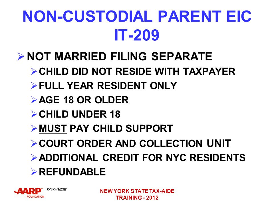 NON-CUSTODIAL PARENT EIC IT-209