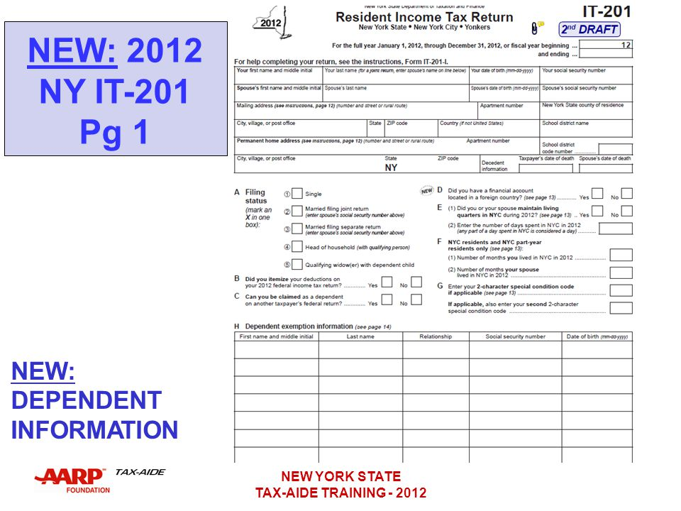 NEW: 2012 NY IT-201 Pg 1 NEW: DEPENDENT INFORMATION NEW YORK STATE
