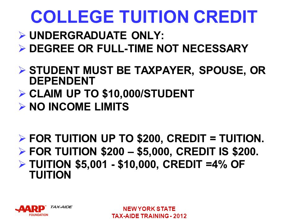 COLLEGE TUITION CREDIT