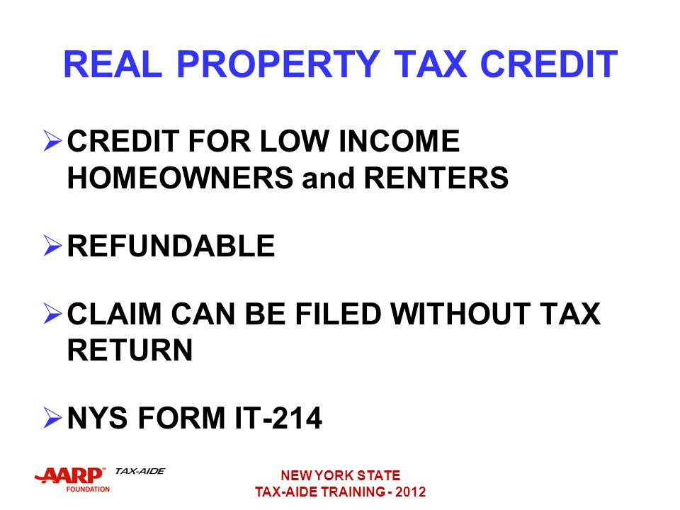 REAL PROPERTY TAX CREDIT