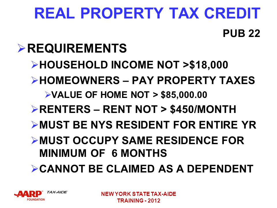 REAL PROPERTY TAX CREDIT PUB 22