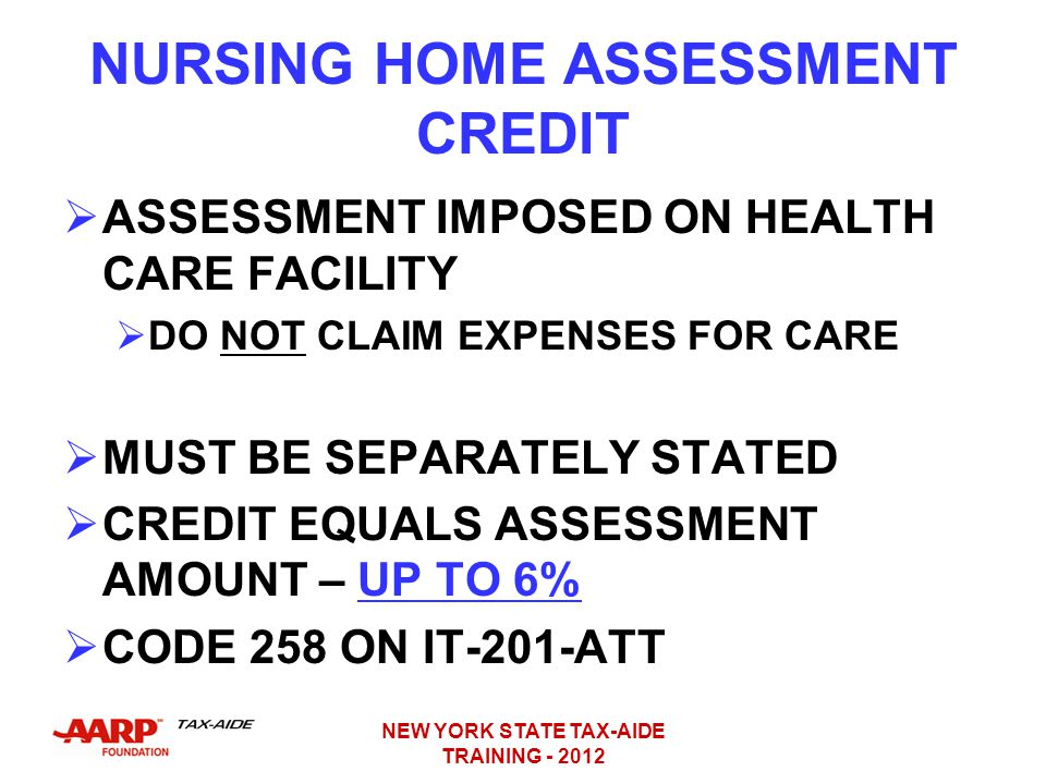 NURSING HOME ASSESSMENT CREDIT