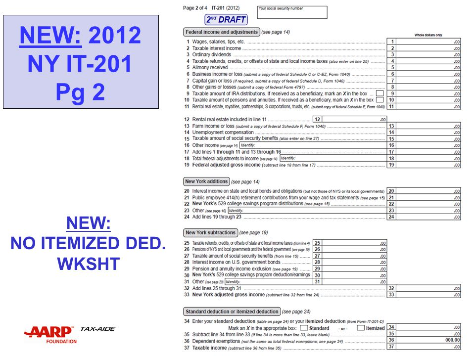 NEW: 2012 NY IT-201 Pg 2 NEW: NO ITEMIZED DED. WKSHT NEW YORK STATE