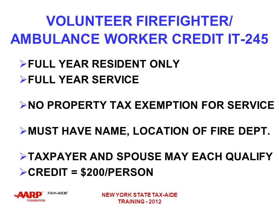 VOLUNTEER FIREFIGHTER/ AMBULANCE WORKER CREDIT IT-245