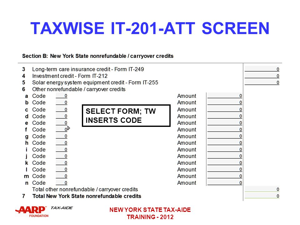 TAXWISE IT-201-ATT SCREEN