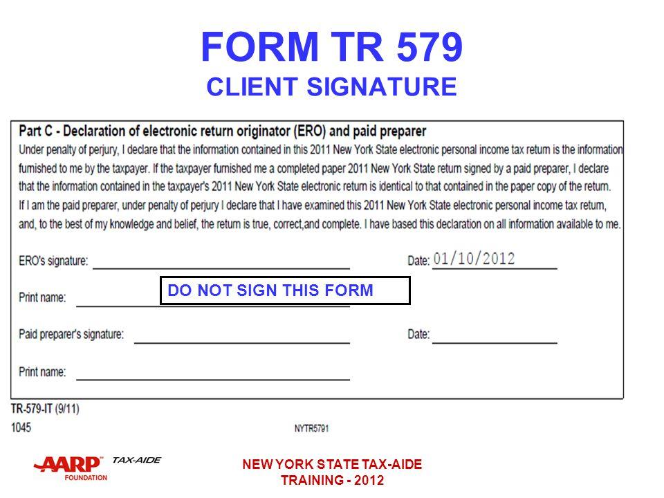 FORM TR 579 CLIENT SIGNATURE