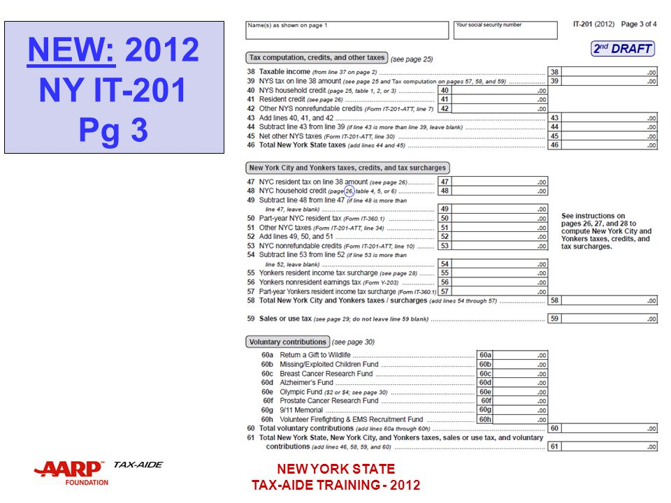 NEW: 2012 NY IT-201 Pg 3 NEW YORK STATE TAX-AIDE TRAINING - 2012