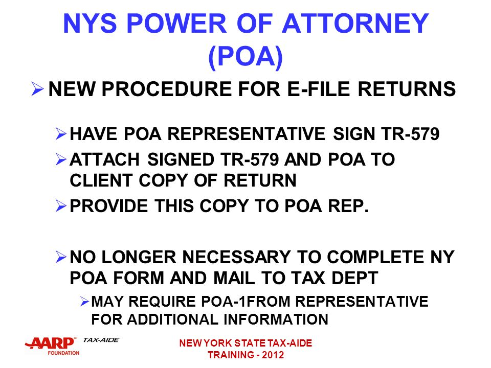 NYS POWER OF ATTORNEY (POA)