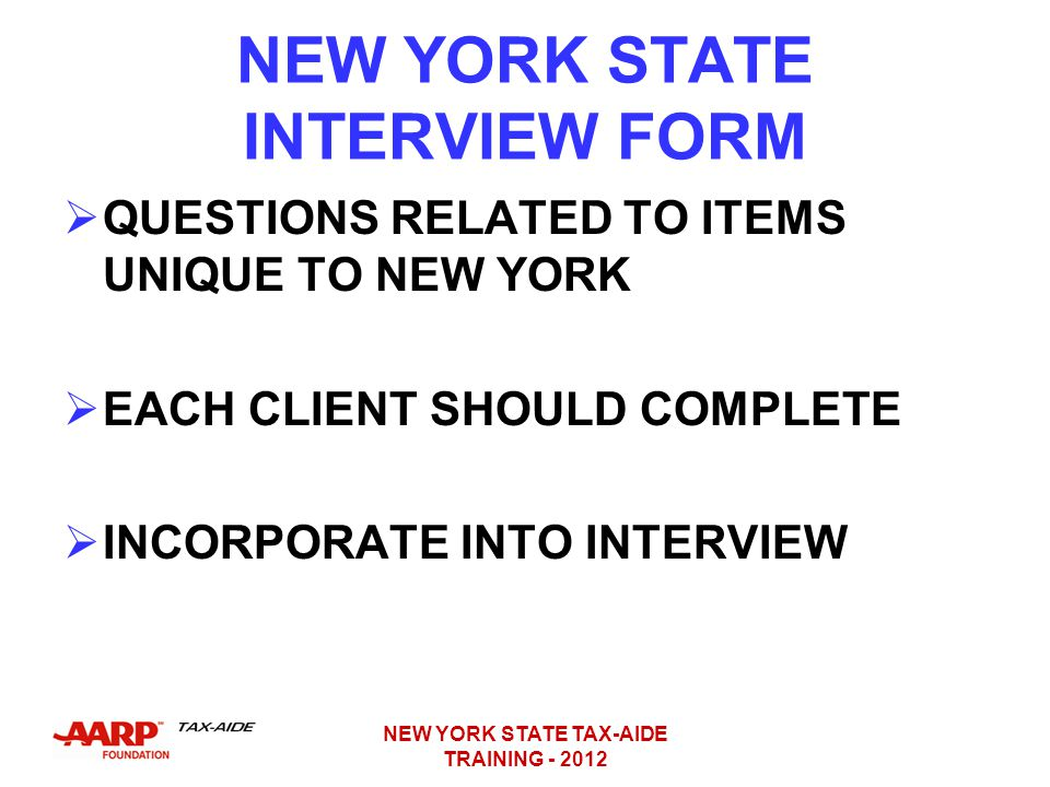 NEW YORK STATE INTERVIEW FORM