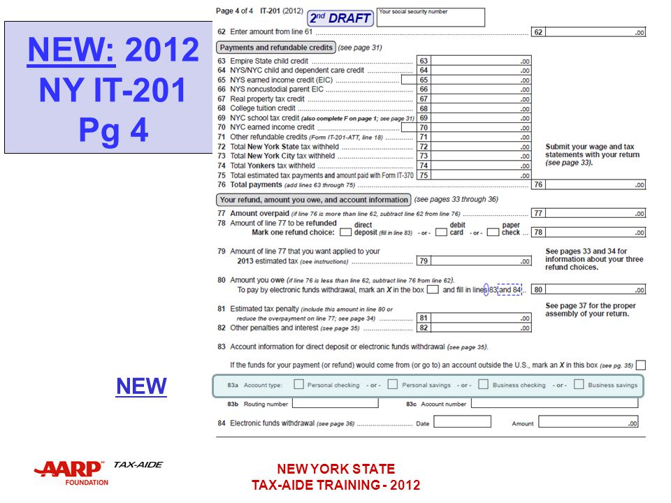 NEW: 2012 NY IT-201 Pg 4 NEW NEW YORK STATE TAX-AIDE TRAINING - 2012