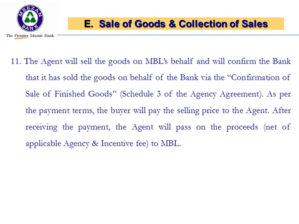 Sale of Goods & Collection of Sales