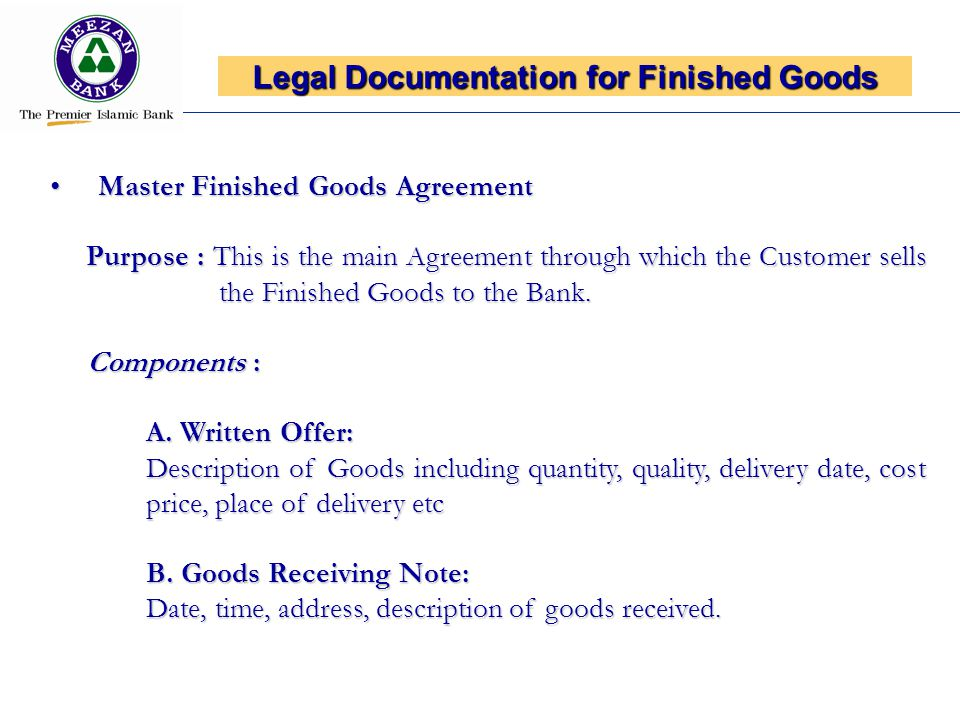 Legal Documentation for Finished Goods