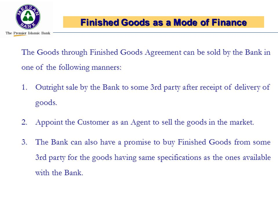 Finished Goods as a Mode of Finance