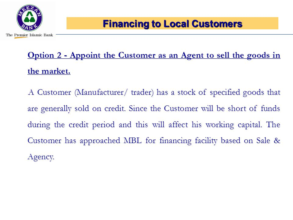 Financing to Local Customers