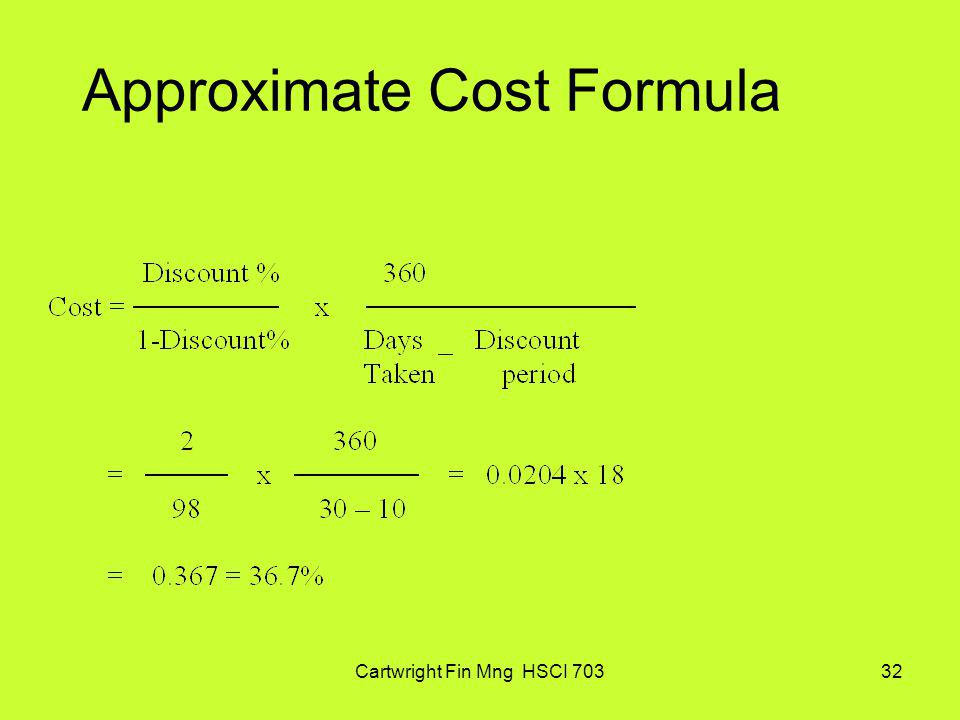 Approximate Cost Formula