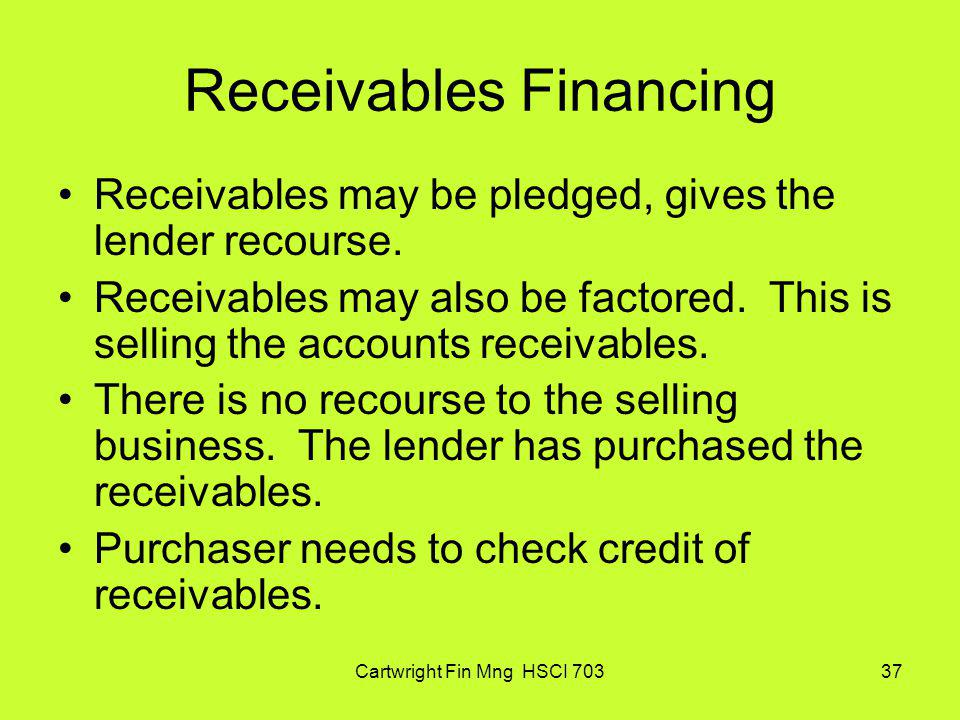 Receivables Financing