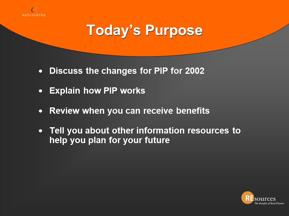 Today's Purpose Discuss the changes for PIP for 2002