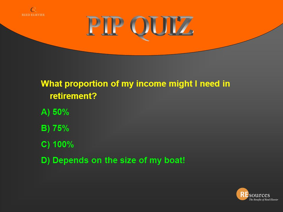PIP QUIZ What proportion of my income might I need in retirement