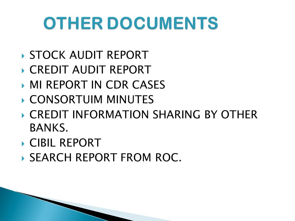OTHER DOCUMENTS STOCK AUDIT REPORT CREDIT AUDIT REPORT