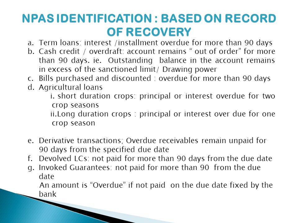 NPAS IDENTIFICATION : BASED ON RECORD OF RECOVERY