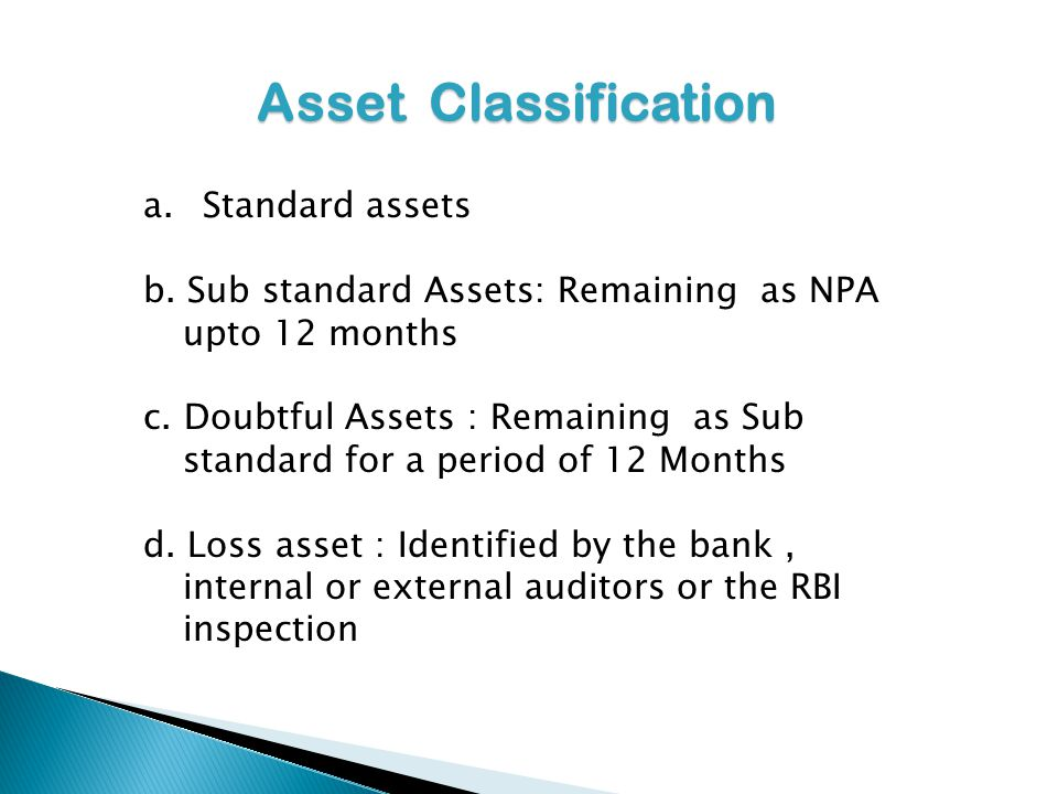 Asset Classification Standard assets