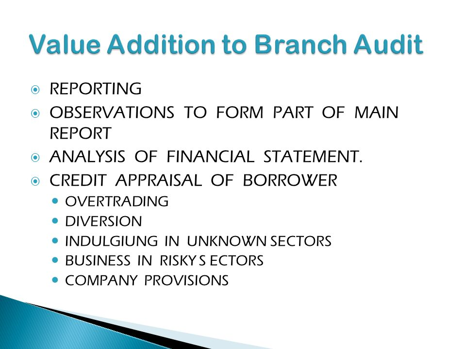Value Addition to Branch Audit