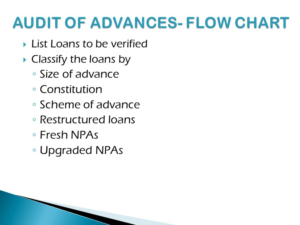 AUDIT OF ADVANCES- FLOW CHART