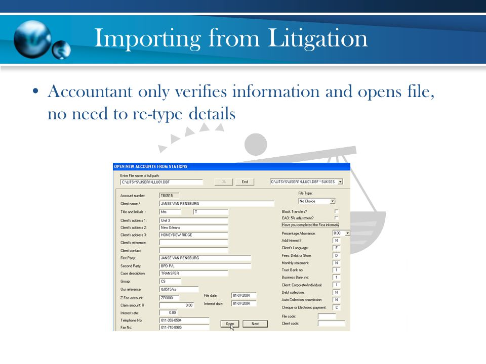 Importing from Litigation