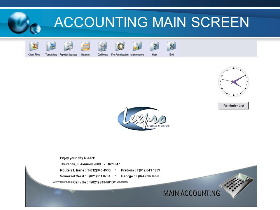 ACCOUNTING MAIN SCREEN