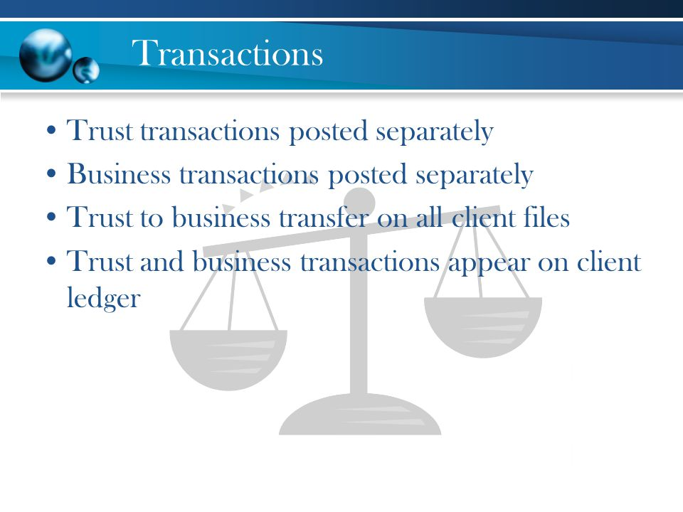 Transactions Trust transactions posted separately