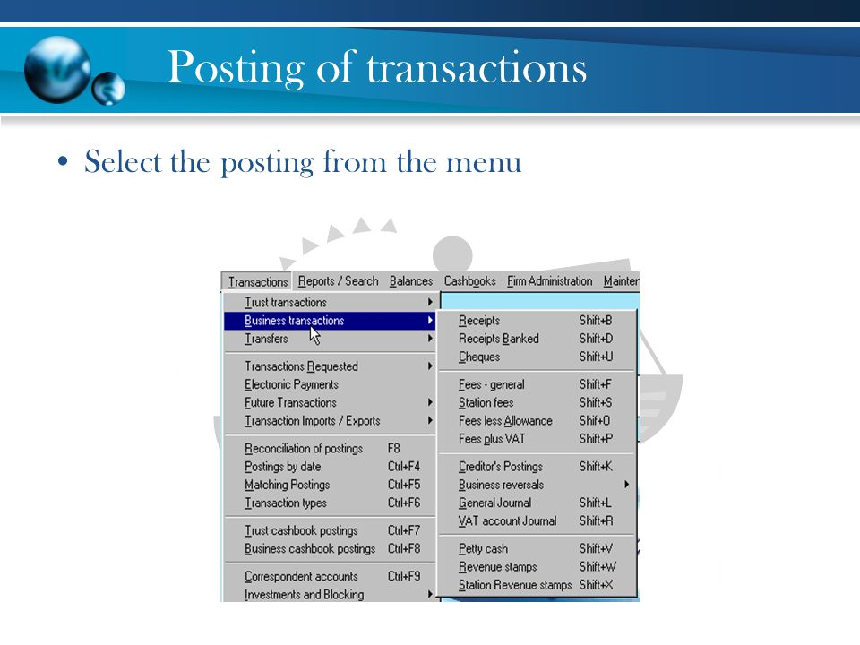 Posting of transactions