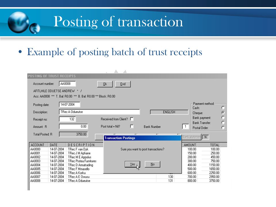 Posting of transaction
