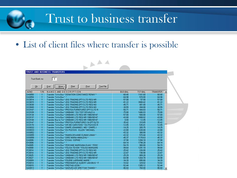 Trust to business transfer