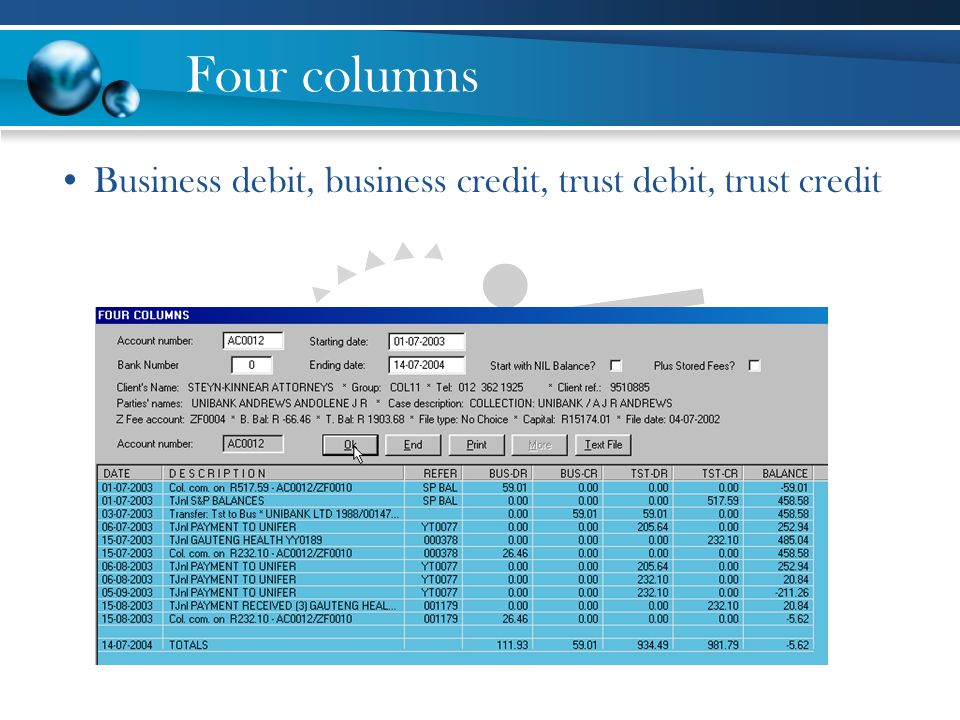 Four columns Business debit, business credit, trust debit, trust credit