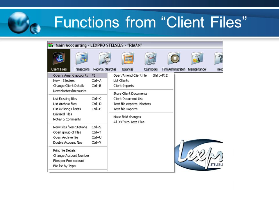 Functions from Client Files