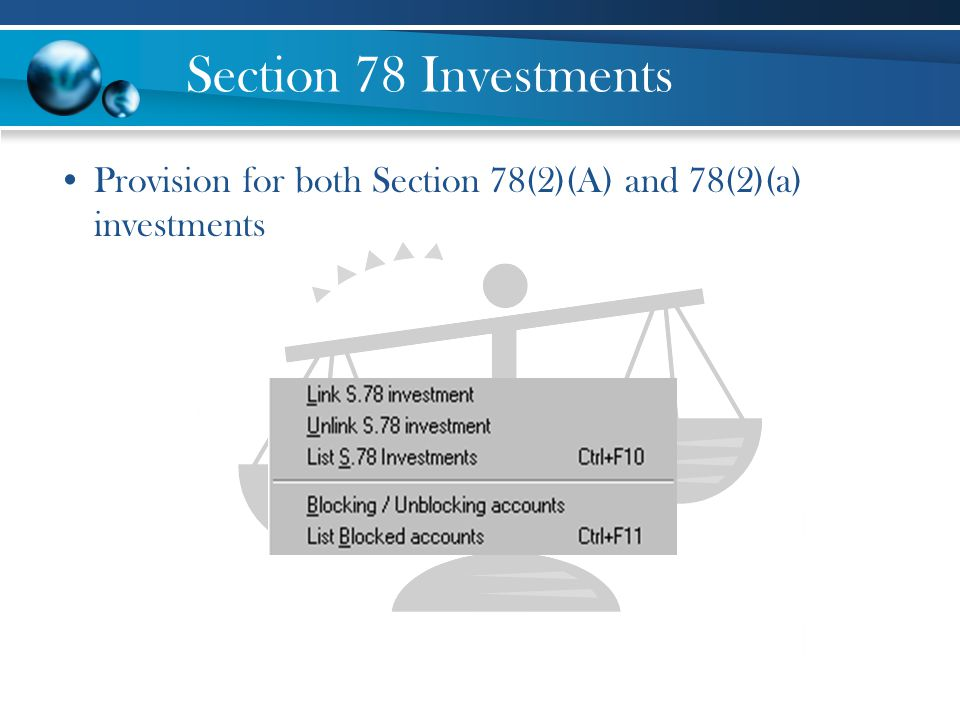 Section 78 Investments Provision for both Section 78(2)(A) and 78(2)(a) investments