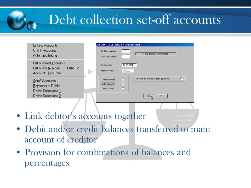 Debt collection set-off accounts