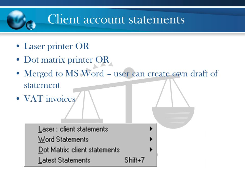 Client account statements