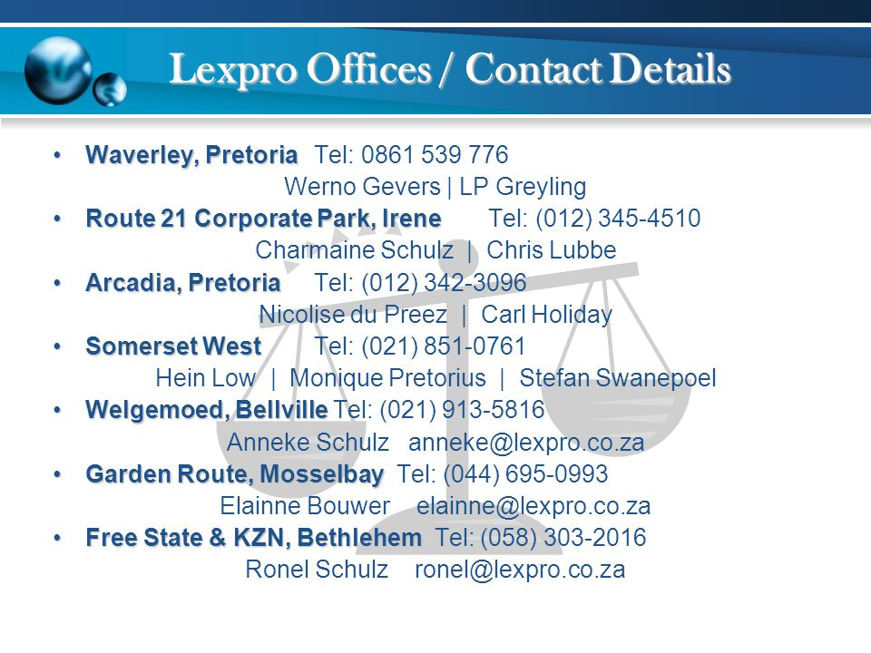 Lexpro Offices / Contact Details