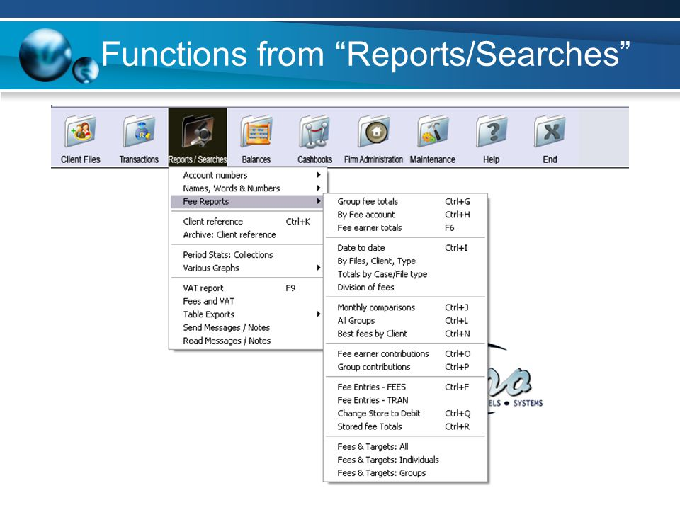 Functions from Reports/Searches