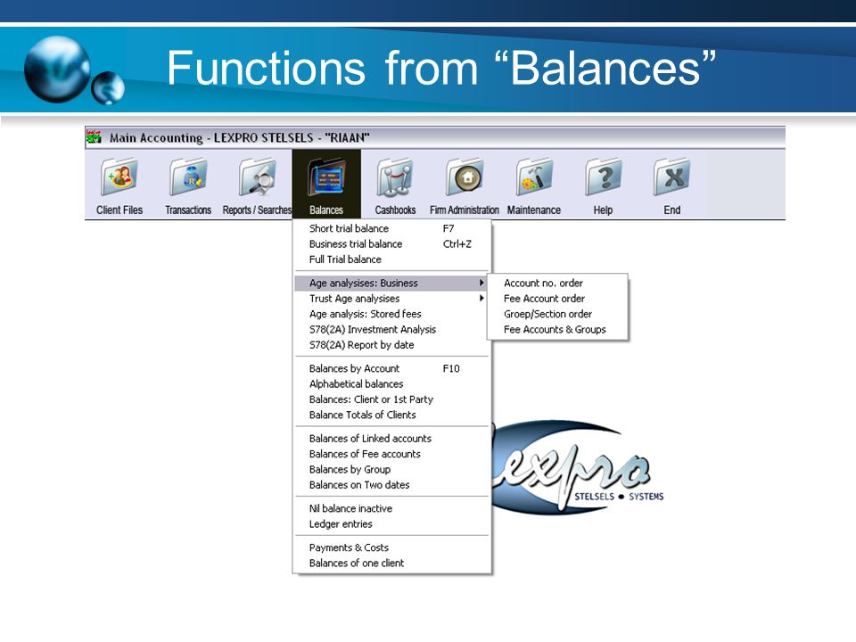 Functions from Balances