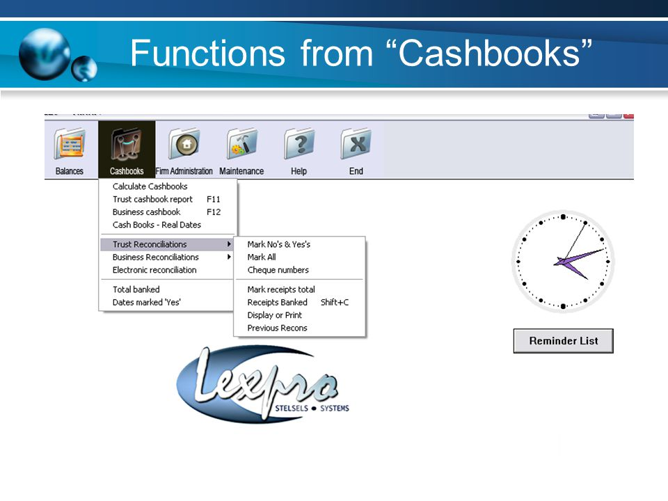 Functions from Cashbooks