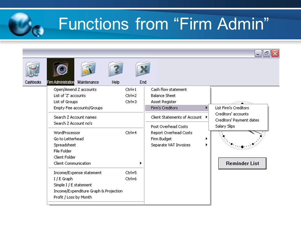 Functions from Firm Admin