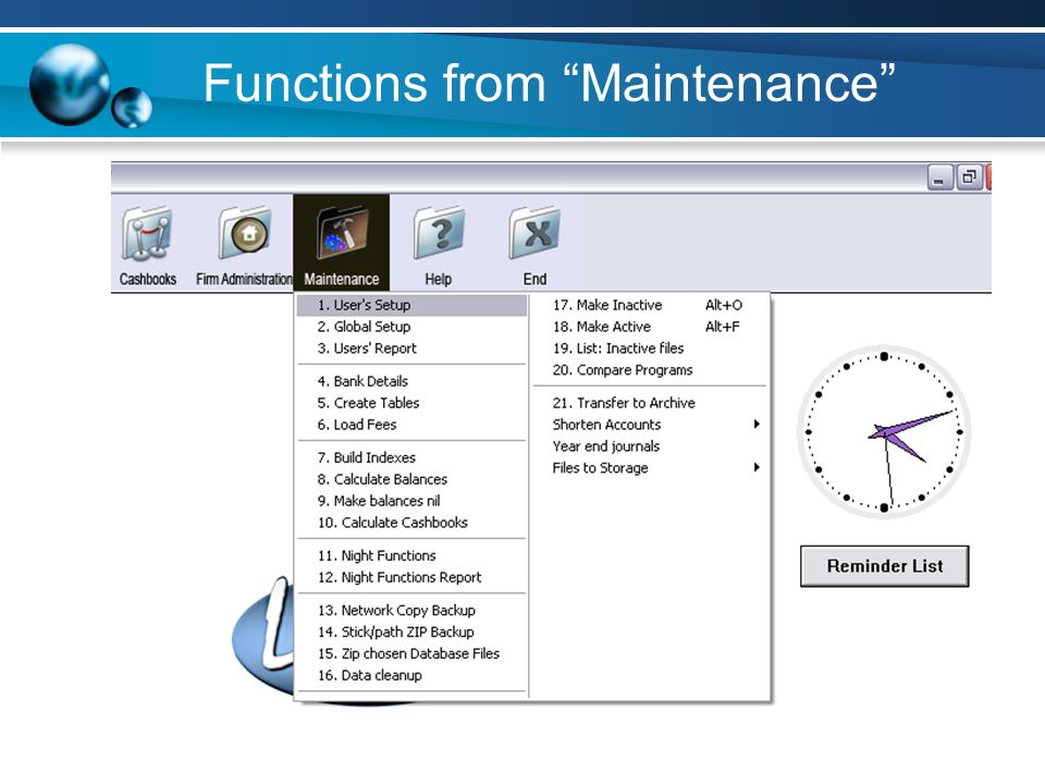 Functions from Maintenance