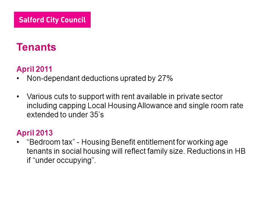 Tenants April 2011 Non-dependant deductions uprated by 27%