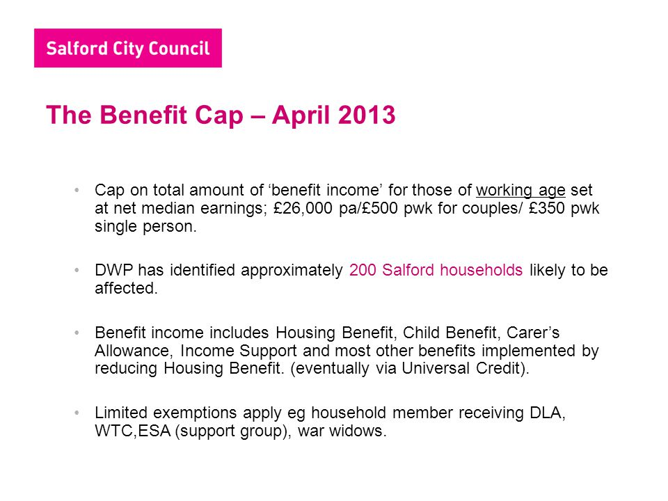 The Benefit Cap – April 2013