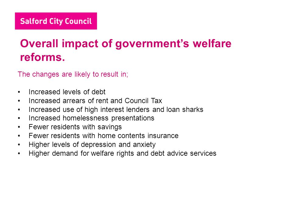 Overall impact of government's welfare reforms.